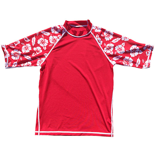 Mangrove Monkey Cherry Red Hibiscus Rashguard